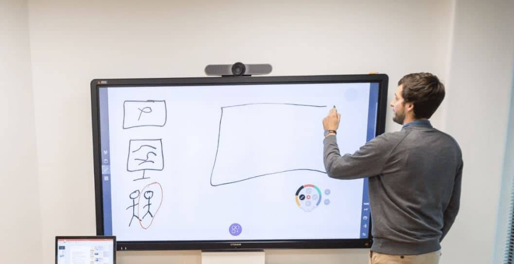 Écran tactile entreprise pour salle de réunion. Annotations sur tableau blanc numérique avec kickle