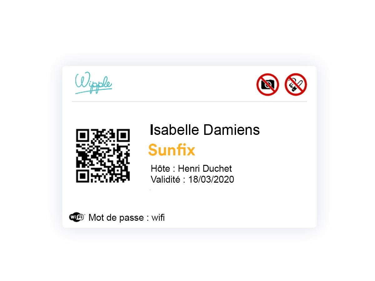 Badge généré via une solution d'accueil digital