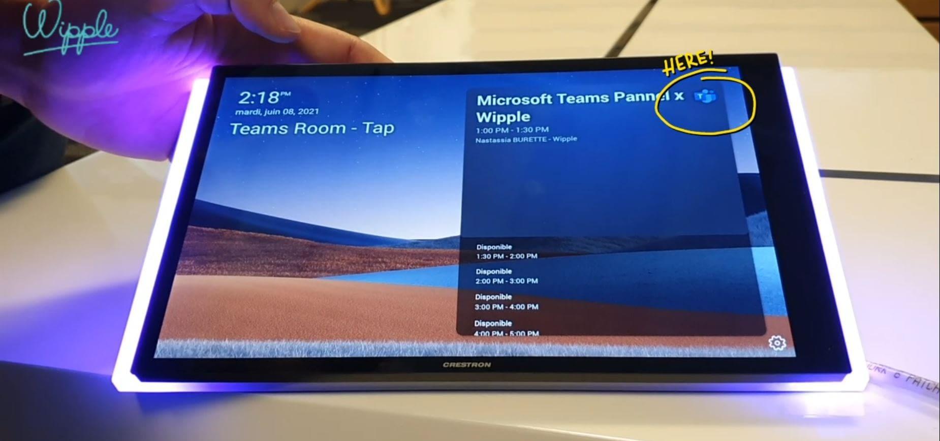 salle réservée Microsoft Teams Panel