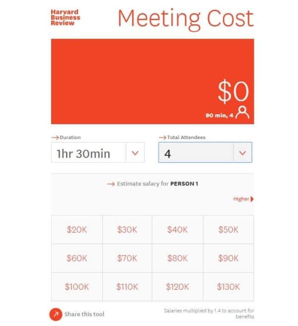Calculatrice pour coût d'une réunion
