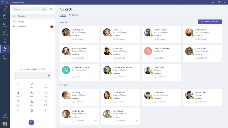 capture écran microsoft teams pour appeler contacts
