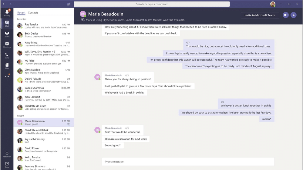 capture écran microsoft teams chat et messagerie instantanée
